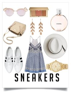 """""""sneakers"""" by karaboyle003 ❤ liked on Polyvore featuring Chryse, Chloé, Calypso Private Label, Le Specs, Michael Kors, Irene Neuwirth, Chanel and Estée Lauder"""