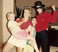 Michael Jackson and Macaulay Culkin and friends