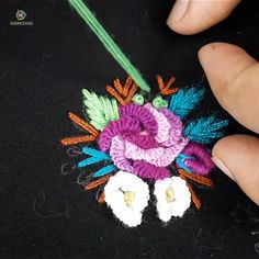 Hand embroidery all over design making with Brazilian stitch - Hand Embroidery Stitches Brazilian Embroidery Stitches, Hand Embroidery Videos, Embroidery Stitches Tutorial, Embroidery Flowers Pattern, Learn Embroidery, Hand Embroidery Designs, Embroidery Techniques, Crewel Embroidery, Ribbon Embroidery