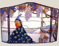 Peacock Stained Glass Fireplace Screen