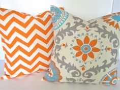 PILLOWS Set Of 2 ORANGE CHEVRON 16x16 Decorative Throw Pillows Aqua Gray Throw pillow covers home decor