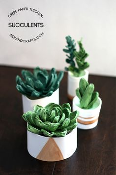 I can't believe these gorgeous succulents are made using crepe paper!! Amazing!! Crepe Paper Succulent Tutorial on ashandcrafts.com