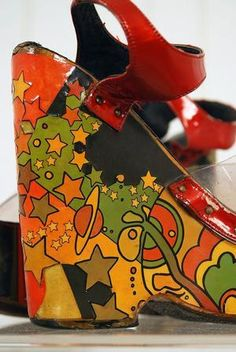 Peter Max shoes.. Oh !  I do remember these.. I use to actually have a pair of them and could walk in them back in the day....