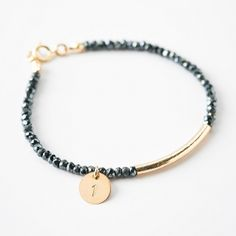 Numbered pyrite bracelet perfect recovery gift or sobriety gift. Dainty and delicate jewelry with anniversary years subtly stamped on the charm. $59 Anniversary Years, Sobriety Gifts, Just For Today, Delicate Jewelry, Sober, Recovery, Numbers, Beaded Bracelets, Charmed