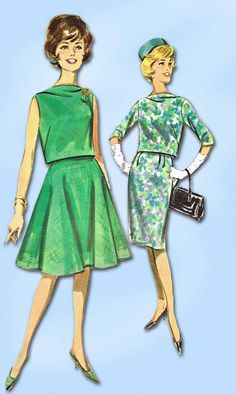 """Butterick Pattern 2104 Misses' Cocktail Dress and Jacket Pattern Dated 1962 Factory Folded and Unused Very Nice Condition Overall Size 12 (32"""" Bust) We Sell the Best Original Vintage Sewing Patterns a"""