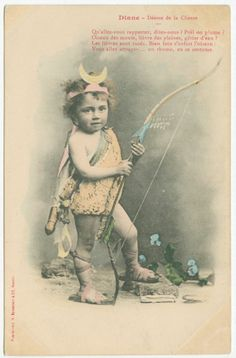 Baby Diana, Goddess of the Hunt, French Early 1900s Vintage Postcard