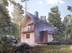 Projekt domu Malutki dr-S 79,48 m2 - koszt budowy 199 tys. zł - EXTRADOM Modern Lake House, Modern Barn, Style At Home, House In The Woods, My House, Country Modern Home, 2 Storey House, A Frame Cabin, Architect House