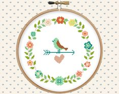 Wreath, flowers, floral, bird, heart cross stitch pattern pdf - instant download - modern cross stitch - floral cross stitch от GentleFeather