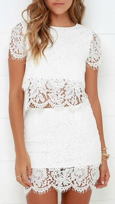 You'll fondly reminisce on all the good time you've had in the Turn Back Time Ivory Lace Two-Piece Dress! Ivory lace shapes a cute crop top and matching sheath skirt. Grad Dresses, Homecoming Dresses, Cute Dresses, Cute Outfits, Formal Dresses, Prom, Hipster Outfits, Long Dresses, Dress Skirt