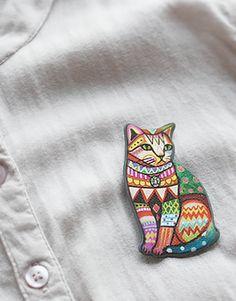 Korean Trippy Cat Brooch - SUDDENLY CAT