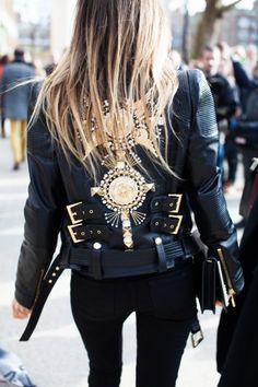 detailed leather jacket #streetstyle http://pinterest.com/sahstarr/
