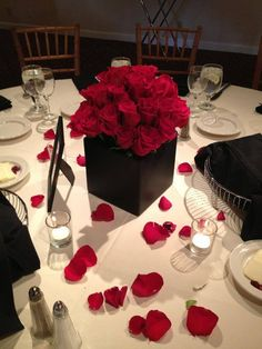 Romantic Black Red Centerpieces Country Club Indoor Reception Summer Wedding Reception Photos & Pictures - WeddingWire.com