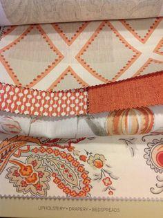 Designer Sarah Richardson Kravet fabric high end coral orange throw pillow cover off white geo dot e Style Anglais, Orange Throw Pillows, Old Pillows, Fabric Combinations, Textiles, Fabric Wallpaper, Fabric Patterns, Mixing Patterns, Throw Pillow Covers