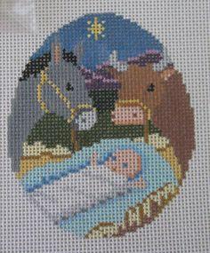 Handpainted Needlepoint Canvas Susan Roberts Jesus Animals Musical Ornament 256 #SusanRoberts