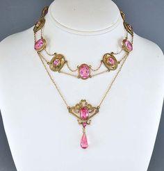 Vintage Art Nouveau Necklace Sapphire Pink Glass Swag Gold Lotus Dog Collar Antique Jewelry Edwardian