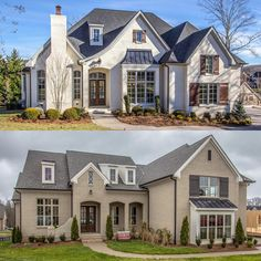 2 under contract this weekend! French Country Exterior, French Country House Plans, House Paint Exterior, Dream House Exterior, Painted Brick Exteriors, Up House, Exterior Remodel, New House Plans, White Houses
