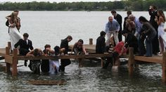 "Hahahahaha!!! Everyone say ""PROM!"" Prrrrrom... CREACRACKSHRIEKSPLASHOOOF. That's pretty much what happened to a group of Wisconsin students who decided to take their prom pictures on a dock over a lake."