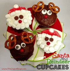 These Christmas Cupcakes would be the perfect addition to any Christmas party. Santa cupcakes and Reindeer cupcakes