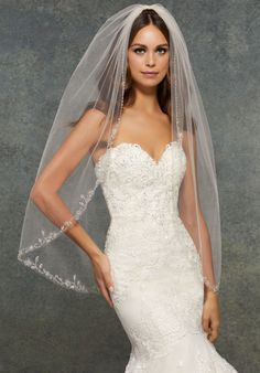 Veil with Embroidery Edge, Beaded with Pearls and Rhinestones. Fingertip Length