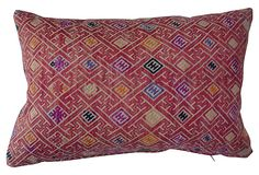 "Hmong Wedding Quilt Pillow, $185, Materials:cover, silk/cotton/linen; insert, down/featherSize:17"" L x 10"" WColor/Finish:pink/multiCare:Dry-clean only."