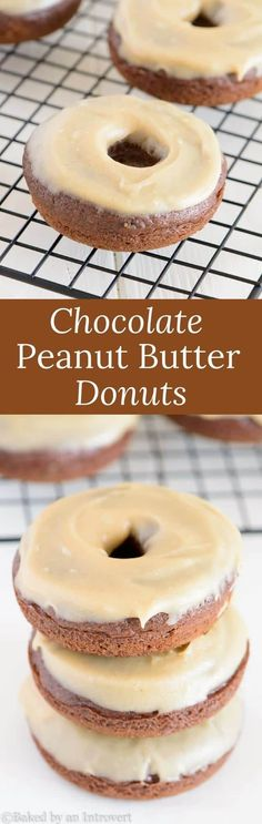 Baked Chocolate Donuts with Peanut Butter Frosting are soo simple and delicious! Whip up this easy recipe today and enjoy! via @introvertbaker