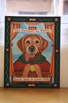 Golden Retriever - Patron St. of Tennis Balls - Retro Pets 11x14 Art Print