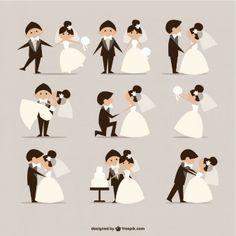 quadrinhos estilo do casamento vetor elementos                                                                                                                                                                                 Mais