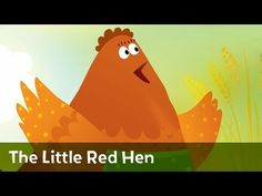 The Little Red Hen with pig, cat, and duck. Text included on screen. Characters give excuses for not helping.