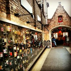 Beer wall, Bruges, Belgium - Best place to have a few in a sunny afternoon * Places Around The World, Oh The Places You'll Go, Travel Around The World, Places To Travel, Around The Worlds, Travel Memories, European Travel, Amsterdam, Journey