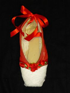 Decorative pointe shoe  red and white lace by PointePerfection1, $15.99