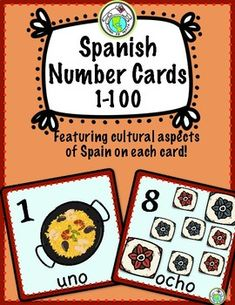 Your CLASSROOM is going to love these NUMBER Cards/ Posters in SPANISH! Each card features a different cultural aspect of SPAIN, such as windmills, grapes, flan, castanets, paella, swallows, turrón and more- perfect to add a cultural dimension to your