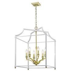 Golden Lighting Leighton Satin Brass And White 17 Inch Four Light Lantern Pendant 8401 Sb Wh Square Chandelier, White Chandelier, Lantern Pendant, Pendant Lighting, Table Lighting, Office Lighting, White Pendant Light, Thing 1, Candelabra Bulbs