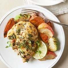 Cilantro Lime Chicken and Sweet Potatoes For maximum flavor, this dish comes together in just one pan. While it roasts, the veggies soak up the seasoning in the bottom of the pan.