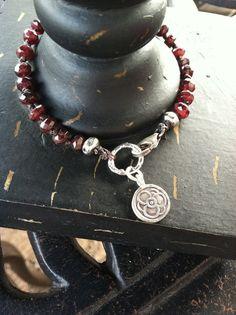 Garnet Hand knotted  Bracelet Red Gemstone Bracelet by jewlsoflove, $62.00
