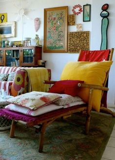 eclectic style.  white walls with everything color.  every size, every shape.