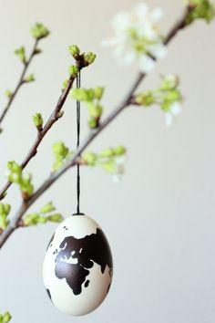 Weltkarten Ostereier, Kirschzweige, bemalte Eier, Ostern, Easter, cherryblossom, cherry, eggs