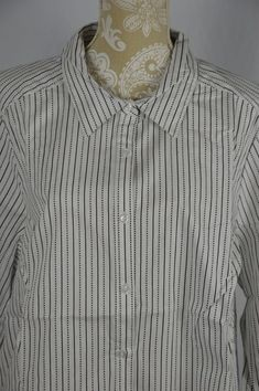 Roaman's Womens 24W White & Black Striped Button Down Long Sleeve Shirt #Roamans #ButtonDownShirt #Casual
