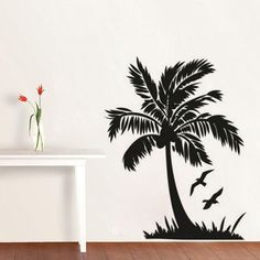 The Charm of Palm Tree Wall Art — Aidnature Cheap Wall Stickers, Diy Stickers, Vinyl Wall Decals, Decorative Stickers, Tree Wall Art, Tree Artwork, Asian Wall Art, Palm Trees, Diy Home Decor