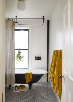"""Vintage Interior Design In the guest bath, which has a painted salvaged tub, the aim was """"a very light and airy space that could one day be a kid-friendly bathroom. Bad Inspiration, Bathroom Inspiration, Bathroom Ideas, Bathroom Inspo, Bathroom Designs, Bathroom Things, Modern Interior Design, Interior Design Inspiration, Modern Interiors"""