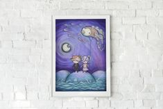 Valentines - Starry Night - Night Lovers - Ocean art - Melancholy - Children illustration - Home Decor - Valentines Day - Love - Sweet Art by ArtyPrintsBoutique on Etsy