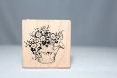 Water Can With Flowers D022 Vintage PSX USA Wood & Foam Backed Rubber Stamp      http://HomeTownVintage.com/ After Christmas Clearance Up To 70% OFF!! All Our Stamps!! Lots of Vintage Scrap Booking Stamps From PSX (Personal Stamp Exchange), Hero Arts, Fearless Designs, Stampin Up!, DOTS and many more  Also Find us on:  http://autopartspuller.com @HomeTownVintage @autopartspuller @preppershowto http://facebook.com/hometownvtg http://facebook.com/AutoPartsPuller