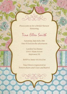 Shabby Chic Vintage Floral Invitations - LemonadeMoments.com