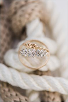 Wedding rings on fisherman's knot during Cocoa Beach Wedding