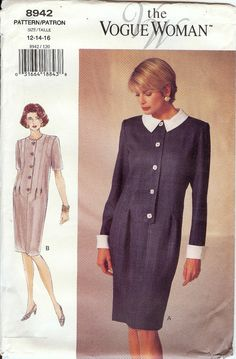 PATTERN: Vogue 8942 SIZE: 12-14-16 BUST: 34-36-38 WAIST: 26.5-28-30 HIP: 36-38-40 CONDITION: New; pattern in factory folds; envelope has some tears SKILL LEVEL: Very Easy DATE: 1994 ~~~~~~~~ If you are purchasing multiple patterns, I may be able to save you shipping by using either a Priority Mail Flat Rate envelope or box. If I use a flat rate envelope or box, the difference in postage will be refunded to you. ~~~~~~~~ My inventory of 10,000+ patterns consists of vintage and newer…