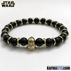MANTRA: May the force be with you. - Black Onyx Natural Gemstones - Darth Vader in Gold with CZ Diamond Pave - Gold Rondelles - Commercial Strength, Latex Free Elastic Band - Artisan Crafted in ou Boho Jewelry, Jewelry Gifts, Black Moonstone, Best Bridesmaid Gifts, Homemade Bracelets, Men Cave, Labradorite Jewelry, Pineal Gland, Incense Cones