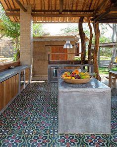 Bamboo House Design, Tropical House Design, Tropical Houses, Dirty Kitchen Design, Outdoor Kitchen Design, Concrete Houses, Dream Home Design, Backyard Patio, Future House