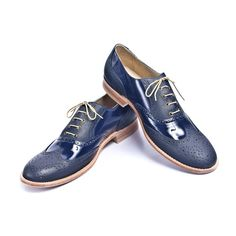 Navy blue leather and patent leather oxford shoes  by goodbyefolk, $225.00