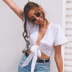 V Neck Blouse Shirt Ruffle Tie Crop Top – iawear Tie Up Crop Top, Summer Crop Tops, Sexy Shorts, V Neck Blouse, T Shirts For Women, Clothes For Women, Shirt Blouses, Cute Outfits, Summer Outfits