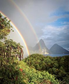 It's always a good day when there is a double rainbow in the sky🌈. 📷 jeera #SaintLucia #MySaintLucia #SheisWaiting #SheisSaintLucia #LetHerInspireYou St Lucia Caribbean, Caribbean Sea, Rainbow Sky, Caribbean Vacations, Island Life, Places To Go, Waterfall, Scenery, Beach