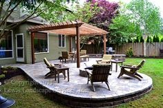 Paver Patio, Pergola, Fire Pit, Seat Wall, Lighting - contemporary - patio - portland - Lewis Landscape Services, Inc.